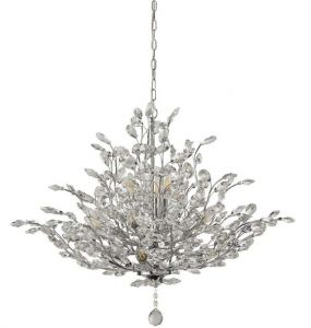 Ansley 11 Light E14 Chrome Ceiling Light With Crystal Glass Droplets