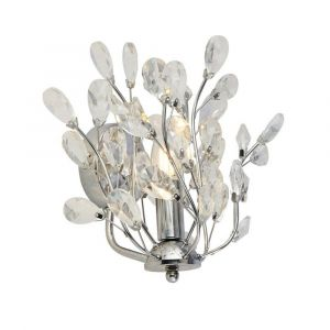 Ansley 1 Light E14 Chrome Wall Light With Crystal Glass Droplets
