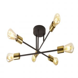 8046-6BK ARMSTRONG 6LT CEILING LIGHT BLACK AND SATIN BRASS