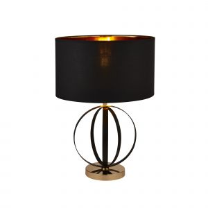 Searchlight 8072BGO Single Table Lamp Black And Gold With Black Shade/Gold Inner Finish