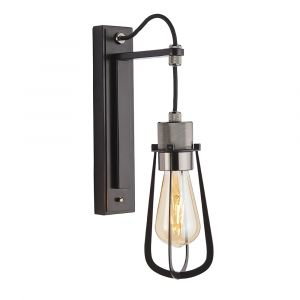 Ribera 1 Light E27 Matt Black Painted Metal Work With Black Chromed Machine Knurled Detailed Wall Light With Toggle Switch