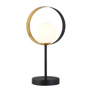 1 Light Matt Black And Golf Leaf Table Lamp With Opal Glass Globe Shade