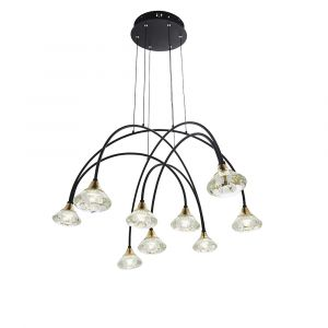 Bella 9 Light 2.14W, 3000K, 1321lm Matt Black With Brushed Brass Detail Adjustable Pendant With Clear Crystal Glass Shades