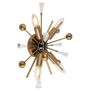 Carrara 4 Light E14 Aged Brass & Black Nickel Wall Light With Antique Brass Rods Tipped With Clear Crystals