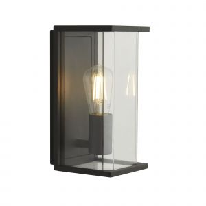 1 Light Outdoor Dark Grey Boxed Wall/Porch Light With Clear Glass