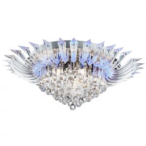 8215-5CC Crystoria 5 Light / Blue LED Ceiling Flush (W/ Remote), Chrome, Clear Glass Drops/Acrylic Arms