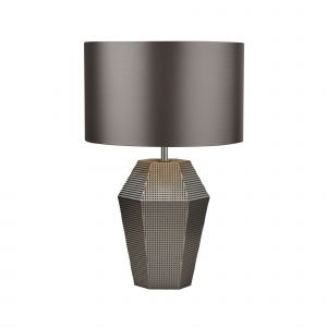 Searchlight 8347SM Single Table Lamp Smoked Glass With Grey Drum Shade Finish