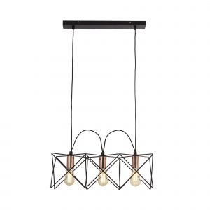 Searchlight 8413-3BK Anthea 3 Light Pendant Black Frame With Copper Detail Finish