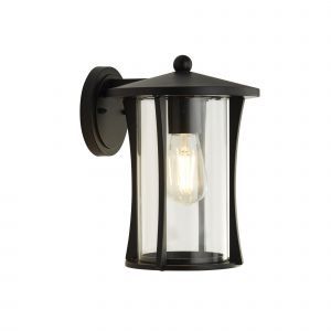 Pagoda 1 Light Outdoor Wall Light In Black With Clear Glass