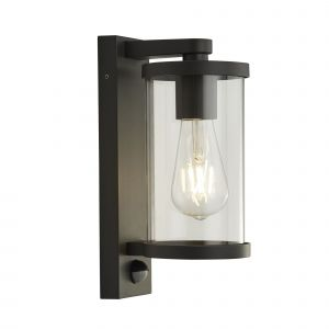 1 Light Outdoor IP44 Wall/Porch Light With PIR In Black With Clear Glass
