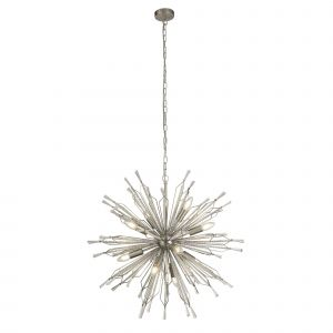 Burst 8 Light G9 Chrome Sputnik Style Ceiling Pendant Light With Clear Glass Droplets