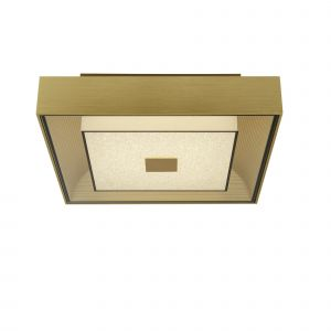 Square LED Flush Light Fitting In Gold With Crystal Sand