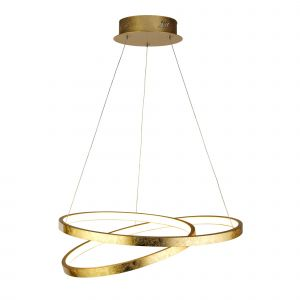 Nesbit 1 Light 29W 2066lm Integrated LED Gold Leaf Adjustable Pendant With Acrlic Diffuser 3000K