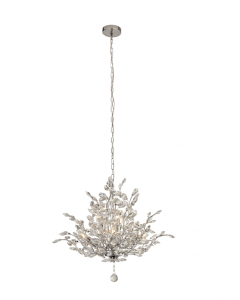 Ansley 7 Light E14 Chrome Ceiling Light With Crystal Glass Droplets
