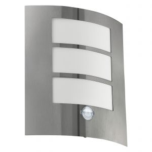 City 1 Light E27 PIR Sensor IP44 Outdoor Wall Light Stainless Steel With White Plastic Diffuser