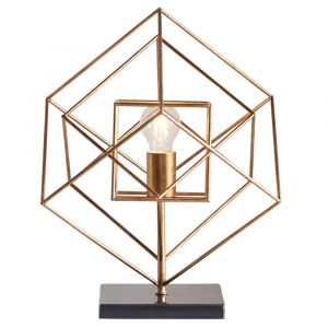 Azul 1 Light E27 Antique Gold Leaf Square Angular Table Lamp With Inline Switch
