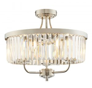 Ovel 3 Light E14 Bright Nickel Semi Flush Fitting With Decorative Clear Cut Faceted Glass