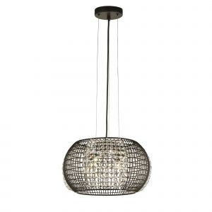 Searchlight 9094-4BK Cage 4 Light Pendant Black With Crystal Glass Panels Finish