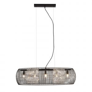 Searchlight 9095-5BK Cage 5 Light Pendant Black With Crystal Glass Panels Finish