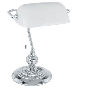 1 Light Polished Chrome Bankers Table Lamp With Opal Shade