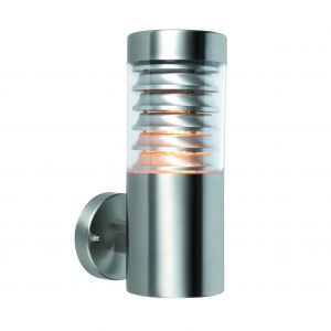 Eaves 1 Light E27 Brushed Stainless Steel IP44 Outdoor Wall Light C/W Polycarbonate Shade
