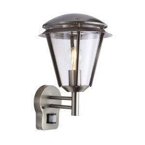 Iken 1 Light E27 Brushed Stainless Steel IP44 Outdoor PIR Wall Light C/W Polycarbonate Shade