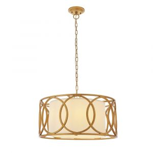 Craquele 4 Light E14 Brushed Gold Painted Adjustable Circular Frame Pendant With White Fabric Shade
