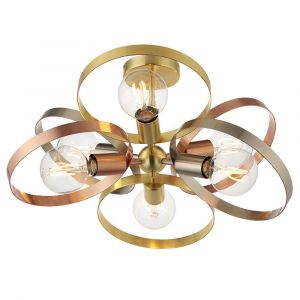 Hoop 6 Light E27  Mixed With Brushed Brass, Brushed Copper & Brished Nickel Semi-Flush Ceiling Fitting