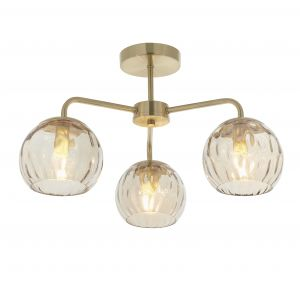 Dimple 3 Light E14 Brushed Brass Semi-Flush Ceiling Fitting C/W Champagne Lustre Dimpled Glass Shades