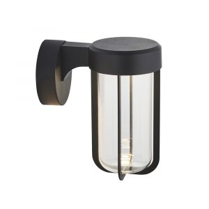 Pacato 1 Light 8W Integrated LED 2700K, 470lm Brushed Black Die Cast IP44 Outdoor Wall Light With Clear Glass Shade