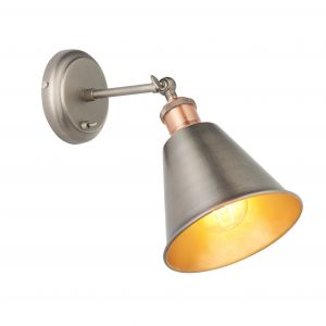 Hal 1 Light E27 Aged Pewter & Aged Copper Toggle Switched Adjustable Wall Light C/W Metal Shade