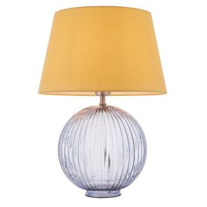 "Jemma 1 Light E27 Smokey Grey Tinted Ribbed Sphere Glass Base With Satin Nickel Table Lamp C/W Evie 14"" Yellow Cotton Tapered Shade"