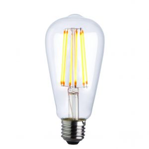6W E27 Clear Dimmable LED Filament Pear Shaped Bulb, 1800K 600 Lumens