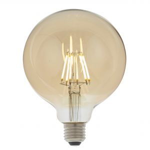 6W E27 Amber Tinted Dimmable LED Filament 125mm Globe Bulb, 2700K 550 Lumens