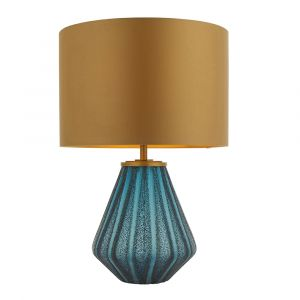 Grandera 1 Light E27 Turquoise Glass Table Lamp With Inline Switch C/W Gold Satin Fabric Shade