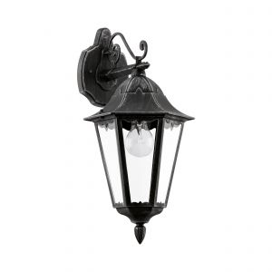 Navedo 1 Light E27 Outdoor IP44 Down Wall Light Black With Clear Glass