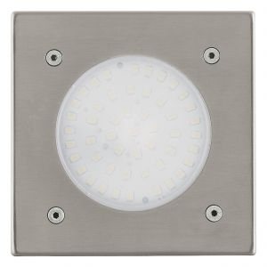 Lamedo 1 Light LED Integrated Square Recessed Ground IP44 Outdoor Light Stainless Steel With Satinated Glass