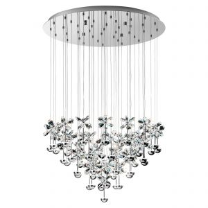 Pianopoli 43 Light LED Integrated, Double Insulated, 220V Polished Chrome Pendant With Crystal