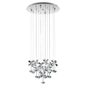 Pianopoli 15 Light LED Integrated, Double Insulated, 220V Pendant Polished Chrome With Crystal