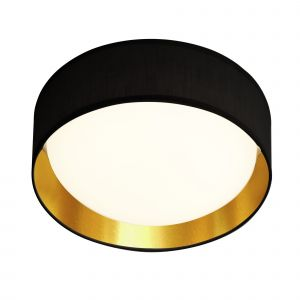 9371-37BGO Modern 1 Light LED Flush Ceiling Light, Acrylic, Black Shade/Gold