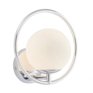 Orb 1 Light G9 Chrome Plated Wall Light With Opal Spherical Glass Shade
