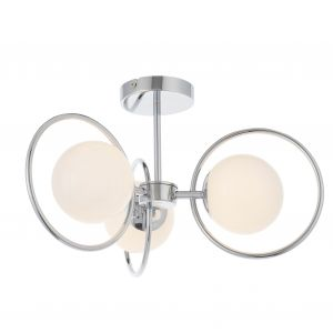 Orb 3 Light G9 Chrome Plated Semi-Flush Ceiling Light With Opal Spherical Glass Shade