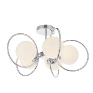 Orb 5 Light G9 Chrome Plated Semi-Flush Ceiling Light With Opal Spherical Glass Shade