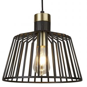 9411BK Bird Cage Frame 1 Light Pendant, Black And Gold