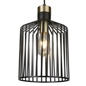 9413BK Bird Cage Frame 1 Light Pendant, Black And Gold
