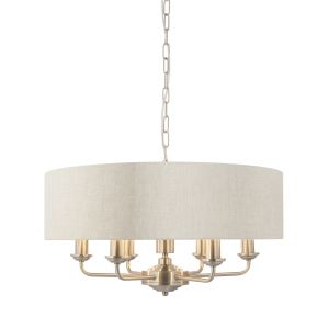Highclere 6 Light E14 Brushed Chrome Ceiling Pendant C/W Natural 100% Linen Fabric Shade With Brushed Metallic Inner