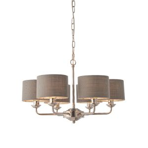 Highclere 6 Arm Light E14 Bright Nickel Ceiling Pendant C/W Charcoal Linen Mix Fabric Shade With Brushed Metallic Inner