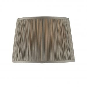 """Wentworth 12"""" Charcoal Grey 100% Silk Tapered Hand Stitched Single Pinch Pleats Fabric Shade"""