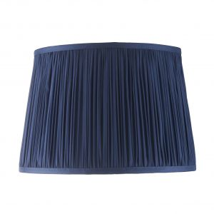 """Wentworth 12"""" Midnight Blue 100% Silk Tapered Hand Stitched Single Pinch Pleats Fabric Shade"""