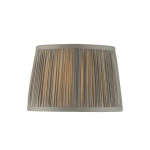"""Wentworth 8"""" Charcoal Grey 100% Silk Tapered Hand Stitched Single Pinch Pleats Fabric Shade"""